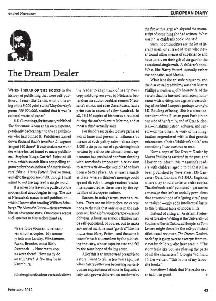 The Dream Dealer praised in Chronicles USA - February 2012